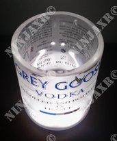 3 Bicchieri Bottiglia Vodka Grey Goose Old Fashion Led