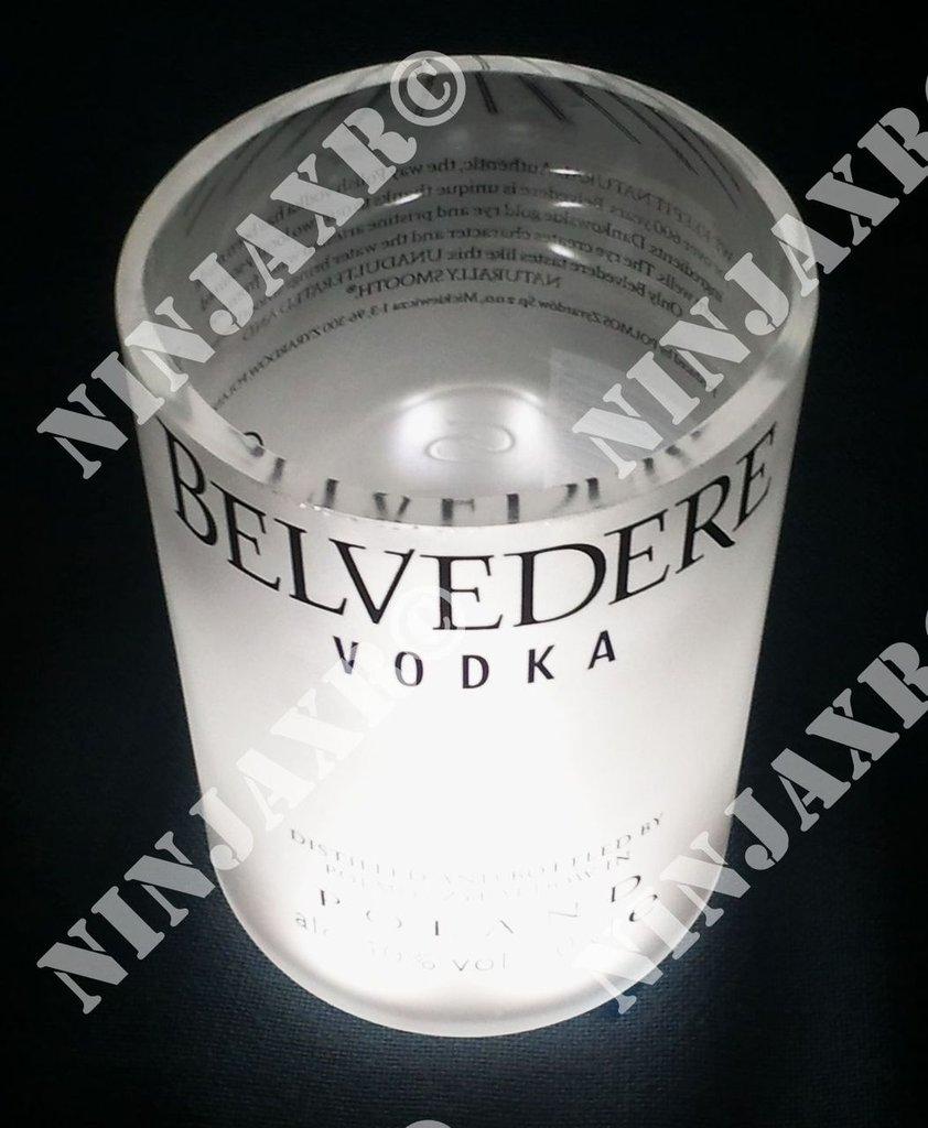 3 Bicchieri Bottiglia Vodka Belvedere Old Fashion Led