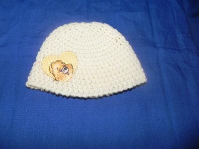 """Cappellino neonato UNISEX fatto a mano BIANCO lana """"Gatto"""" o cotone"""