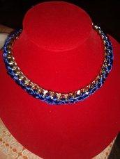 collana girocollo catena e coda di topo blu elettrico intrecciata