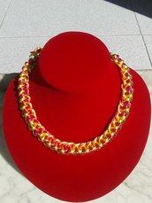 girocollo catena intrecciata con coda di topo giallo e fucsia