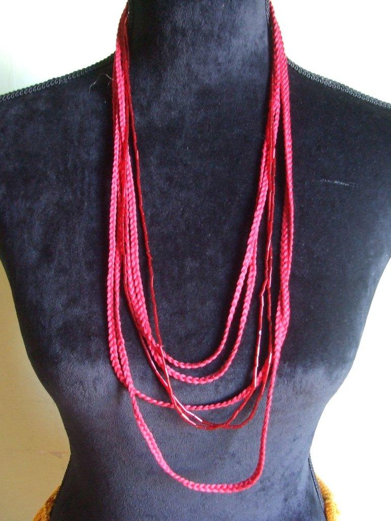 collana  treccine e perle uncinetto cotone