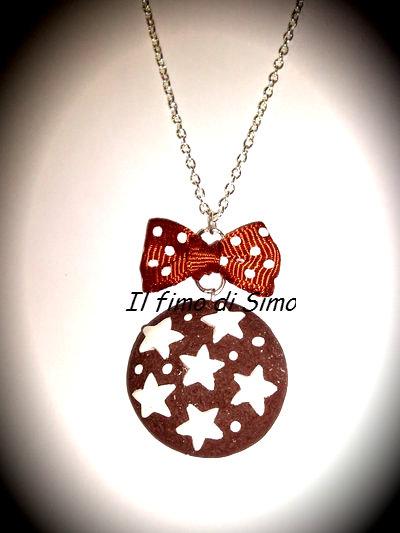 collana biscotto con stelle in fimo