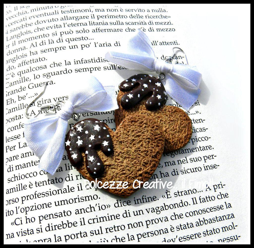 Orecchini biscotto Cuore - pan di stelle - cioccolato