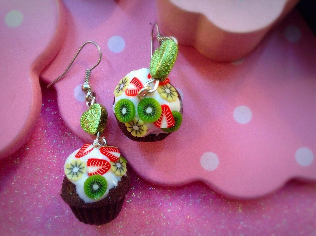 Orecchini cupcake alla frutta