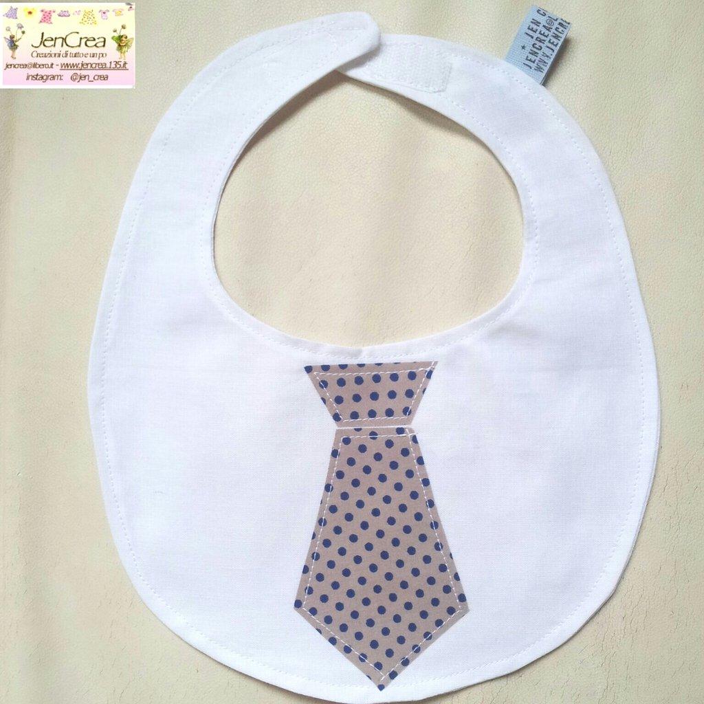 1 Bavaglino elegante bambino cravatta grigia pois blue