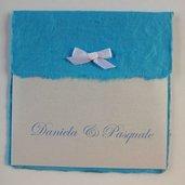 Partecipazione di matrimonio blue con carta naturale