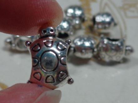 6 perline Tartaruga Foro Grande Argento Tibetano