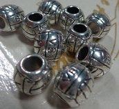 10 perline Palloni da Basket Foro Grande Argento Tibetano
