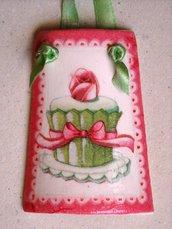 Tegole. Tegola muffin rosa in miniatura: bomboniera o idea regalo!