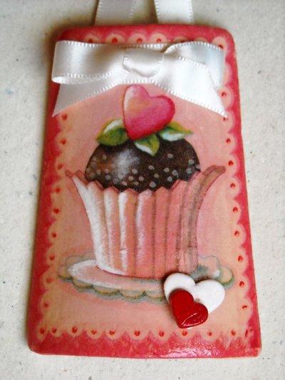 Tegole tegola muffin in miniatura con cuori in rilievo - Tegole decorate in rilievo ...