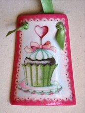 Tegole. Tegola muffin in miniatura con cuore rosso: bomboniera o idea regalo!
