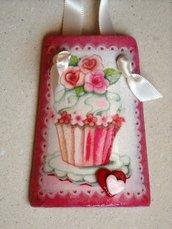 Tegole. Tegola muffin rose rosse, in miniatura: bomboniera o idea regalo!