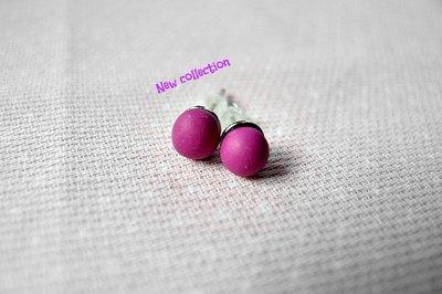 Orecchini a Lobo Dots Colection color Violetto in fimo lavorati a mano