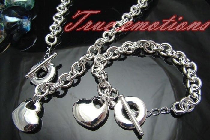 PARURE argento 925 collana + bracciale con cuore
