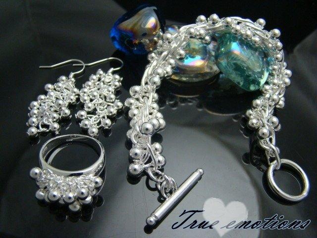 PARURE argento925  bracciale + anello + orecchini