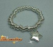 Bracciale in argento 925 elasticizzato con cuore o stella