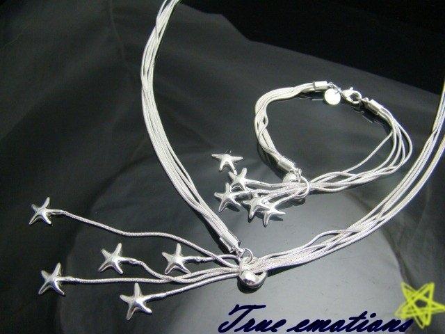 PARURE bracciale + collana in argento 925 con le stelle