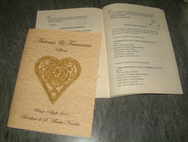 """Libretto messa matrimonio """"cuori"""""""