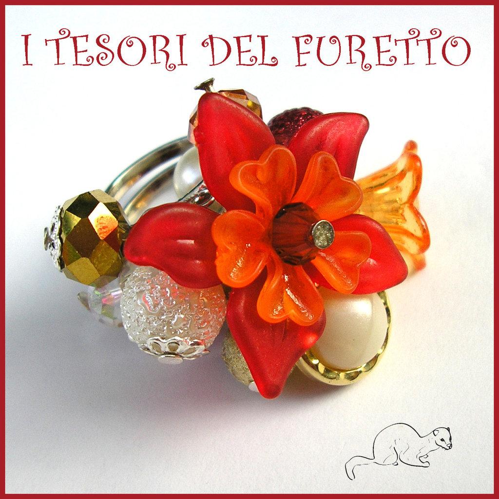 """Anello """"Fufuflower Rosso Oro"""" Fiori lucite acrilico charm elegante idea regalo Natale"""