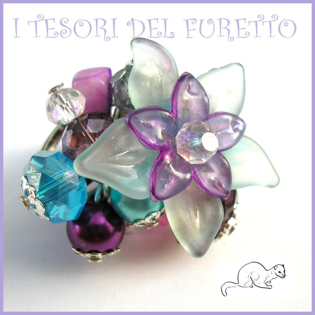 """Anello """"Fufuflower Azzurro/viola"""" Fiori lucite acrilico charm elegante idea regalo Natale"""