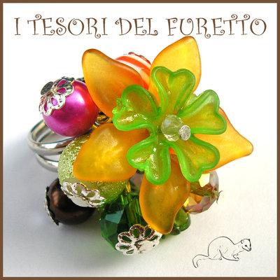 """Anello """"Fufuflower arancio verde"""" Fiori lucite acrilico charm elegante idea regalo Natale"""
