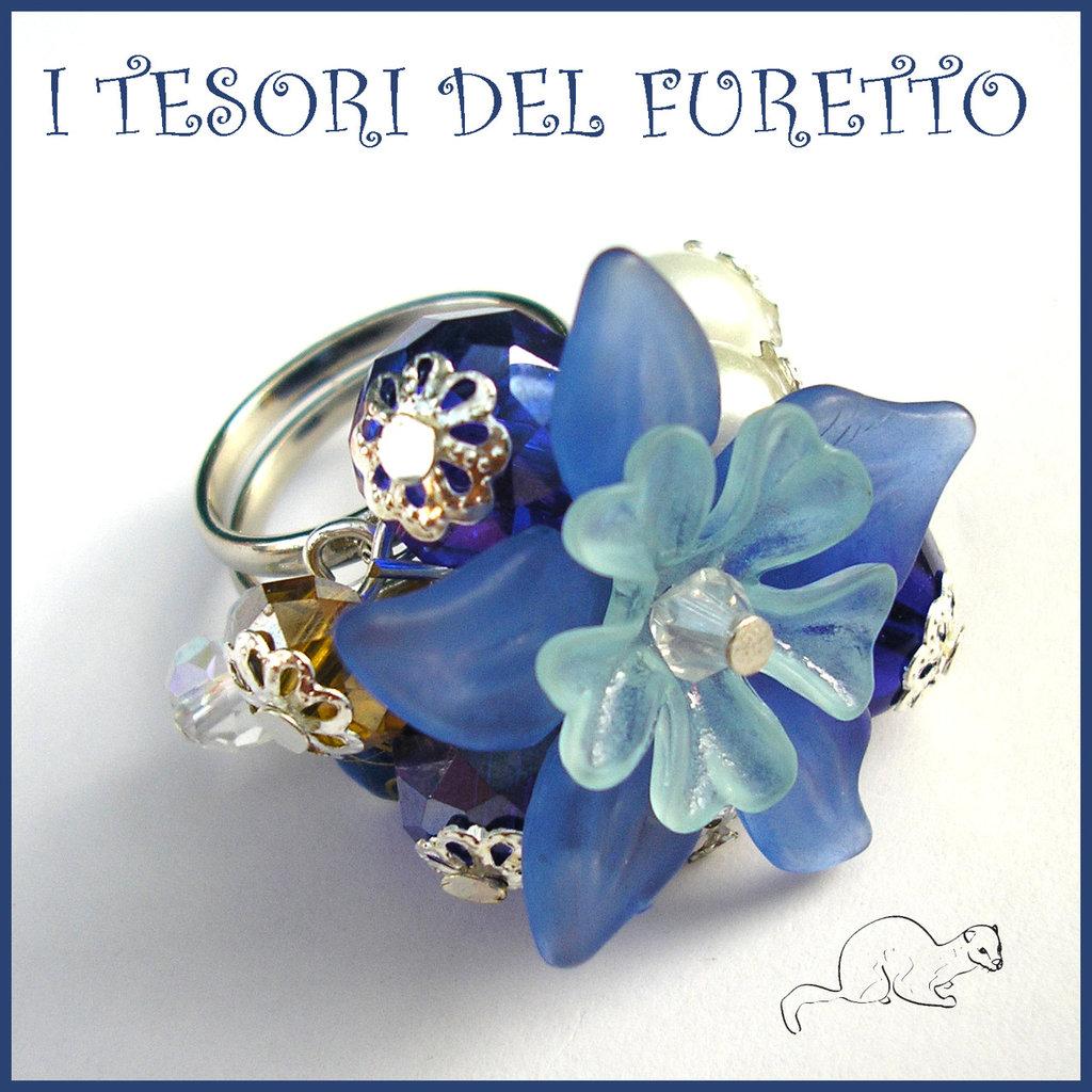 """Anello """"Fufuflower Blu/azzurro"""" Fiori lucite acrilico charm elegante idea regalo Natale"""