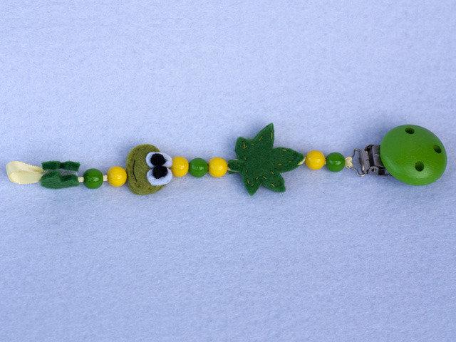 Catenella porta ciuccio verde in feltro