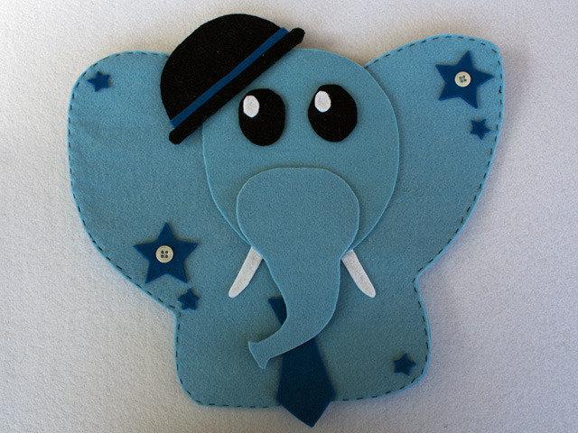Porta pigiama elefantino in feltro