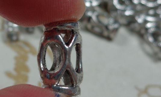 10 perline Foro Grande Argento Tibetano