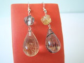 Orecchini pendenti in argento 925 con pietre in quarzo rutilato e quarzo tormalinato