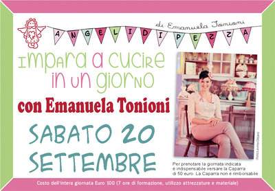 Sab 20 Settembre - Impara a Cucire in un Giorno con Emanuela Tonioni