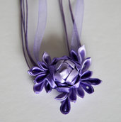 Collana kanzashi fatta a mano colore viola