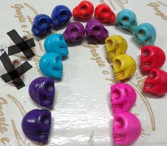 18 Mini Perline Teschi Pietra Sintetica 8 COLORI