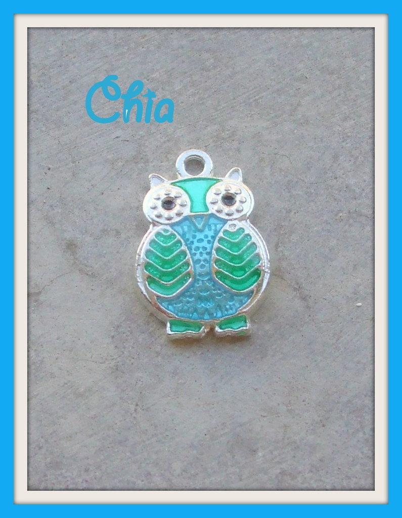 1 charm gufo smaltato verde azzurro 20x13mm