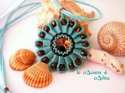 Ciondolo Fianna con Swarovski topaz e perline turchesi mezzi cristalli bronzo