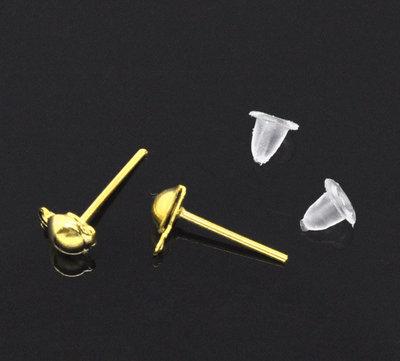 20 pezzi (10 paia) base orecchini a perno con asolina color oro