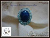 Anello ovale blu  incastonato  a mano