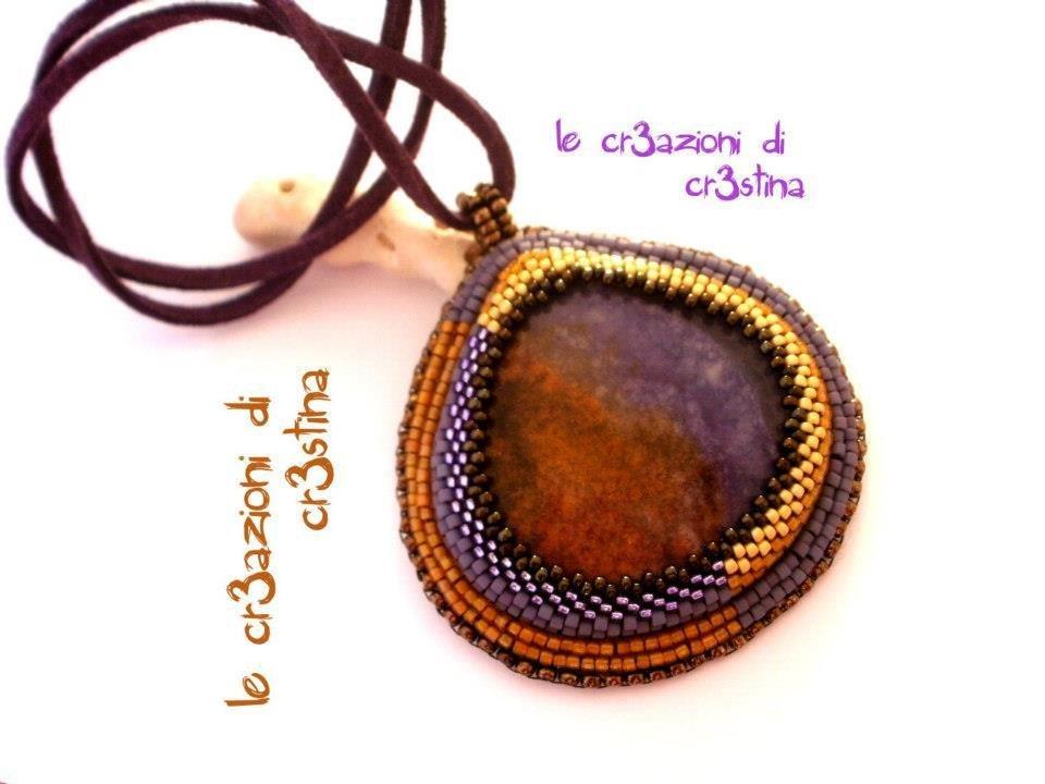 Goccia embroidery pietra dura purple lace chalcedony viola marrone con perline