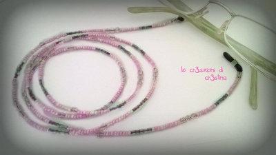 Collanina per occhiali con perline e cristalli rosa grigio