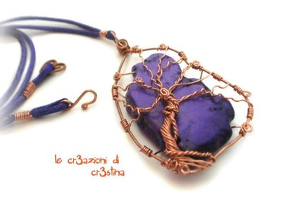 Albero della vita, tree of life con pietra dura viola e filo rame