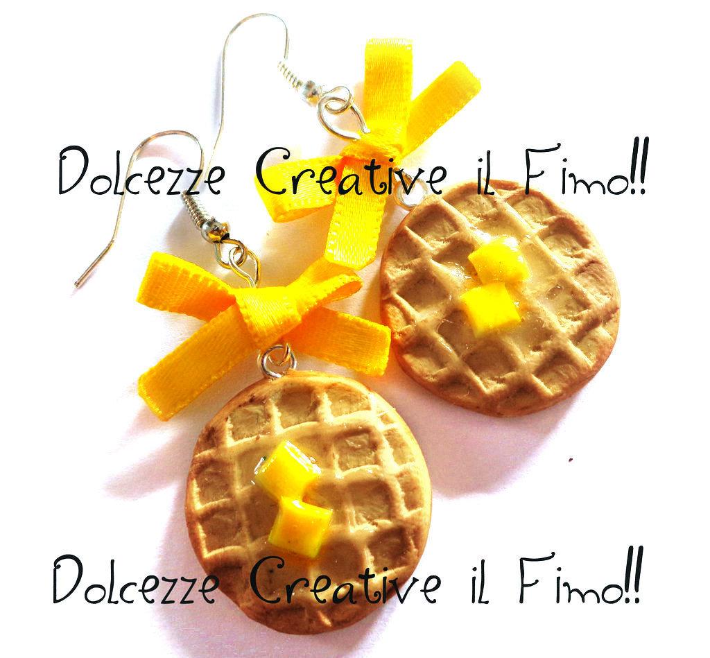 Orecchini Waffle cialde con fiocco giallo