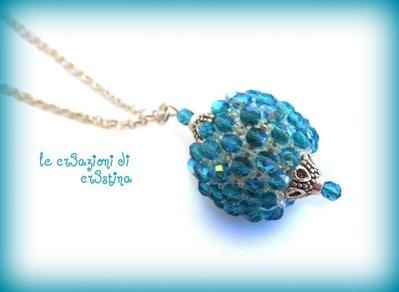 Palla capricho con mezzi cristalli blue zircon