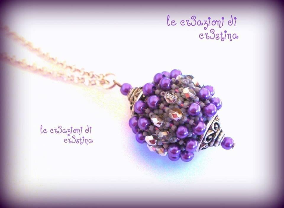 Palla capricho con perle lilla e mezzi cristalli argento