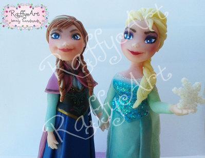 Cake topper Anna & Elsa - Inserzione privata per Maria Antonietta