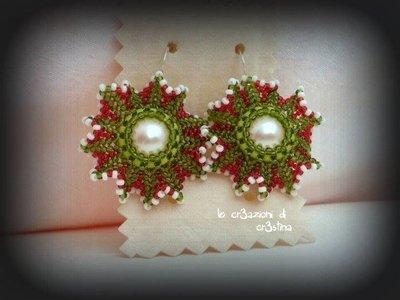 Orecchini merletto di perline rocailles con perla bianca