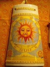 Tegole: tegola di terracotta con sole. Idea regalo e Bomboniera