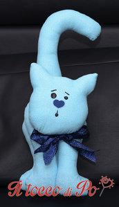 Gatto fermaporta azzurro