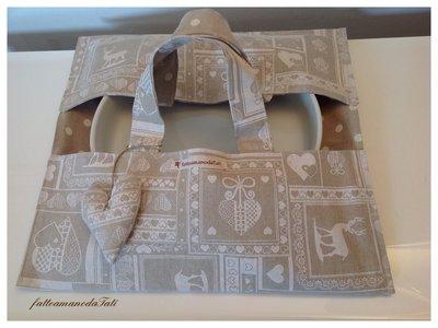 Porta torte country chic in cotone fantasia bianco ed ecrù