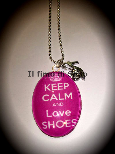 collana cabochon keep calm and love shoes